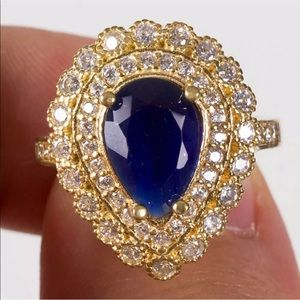 Turkish Silver 925 and Sapphire Jewel Ring